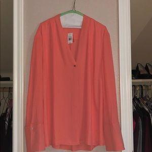 Coral, hidden button blouse.